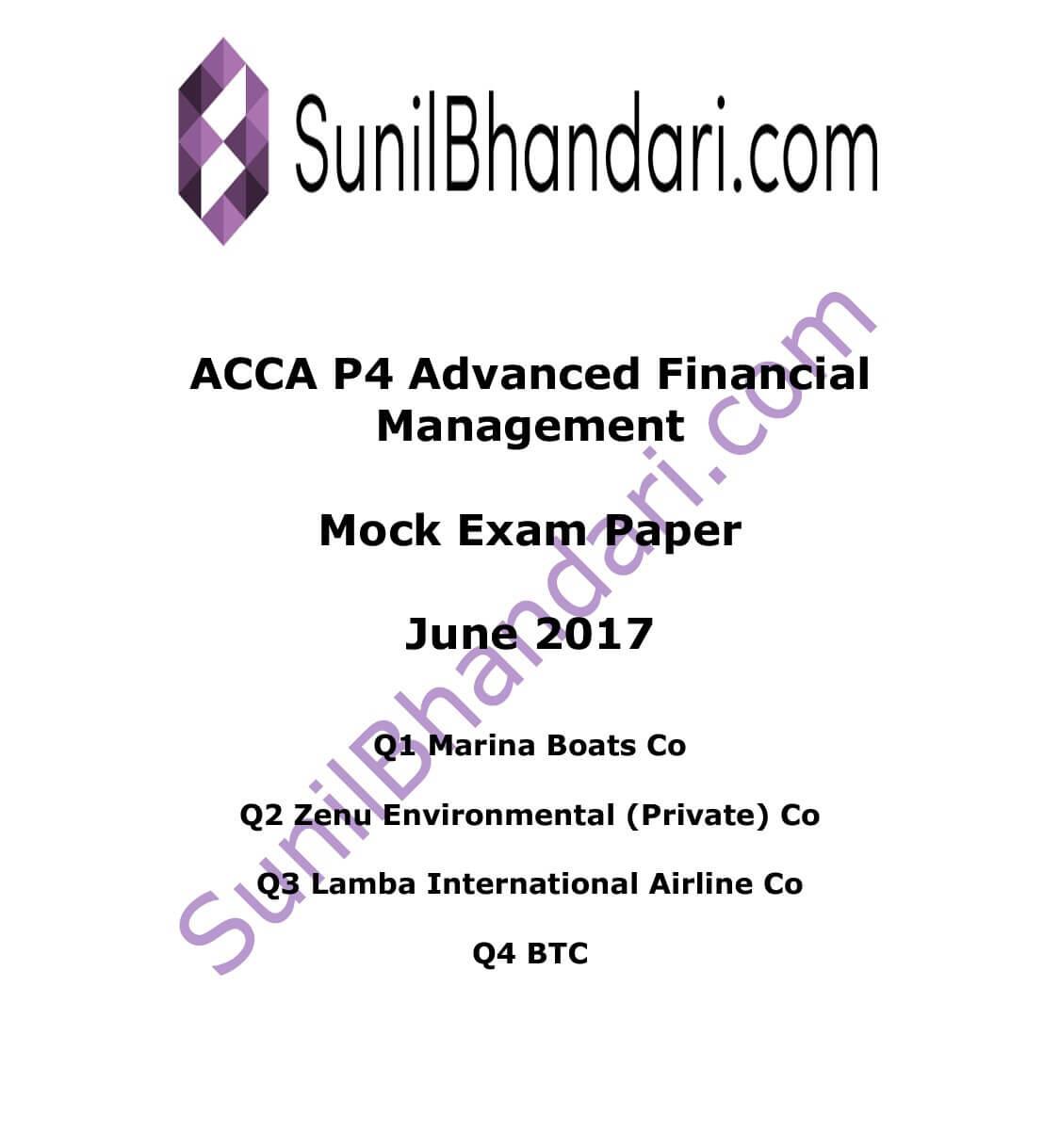 Mock exam p4 - Term paper Example